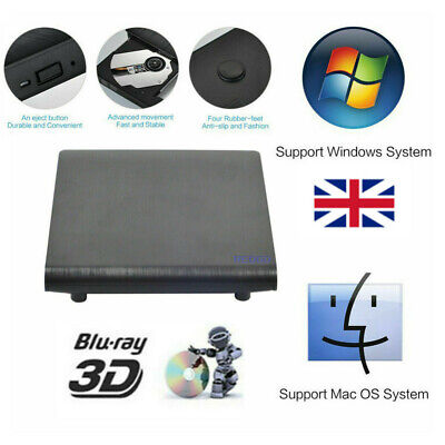 External USB Blu-Ray Disc Burner Writer Player Reader DVD CD RW Drive For Laptop • 67.99£