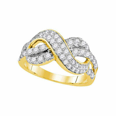 $1078.70 • Buy 14k Yellow Gold Womens Round Diamond Infinity Crossover Fashion Band Ring 1 Ctw