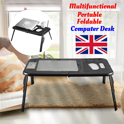 Folding Laptop Desk Adjustable Computer Table Stand Tray  Bed Sofa Cooling Fan • 12.99£
