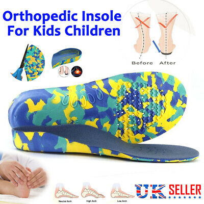 Children's Orthotic Insoles Arch Support Flat Feet Arch Pain Kids Insoles Foot M • 8.99£
