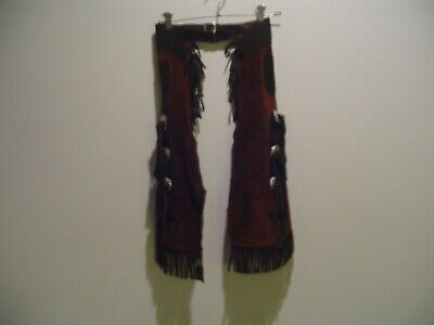 $25 • Buy Child Size Leather Western Cowboy Chaps With Fringe, Length 22  Waist Up To 26