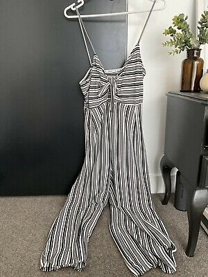 AU15 • Buy Pull And Bear Black And White Striped Jumpsuit Medium