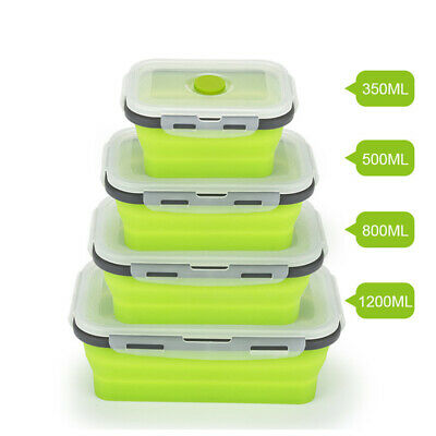AU17.81 • Buy Silicone Folding Lunch Box Bowl Portable Food Storage Container Eco-Friendly