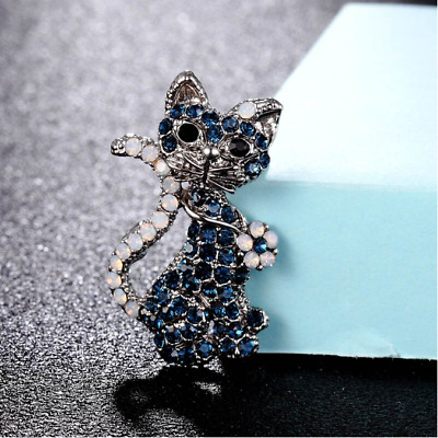 Cat Brooch Pin Badge Gift Silver Blue Rhinestone Antique Vintage Style Jewellery • 5.95£