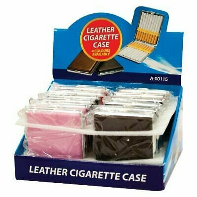 Cigarette Case Faux Leather Tin Holder Tobacco Smoking Box Gift Idea 20 Cigaret • 3.99£