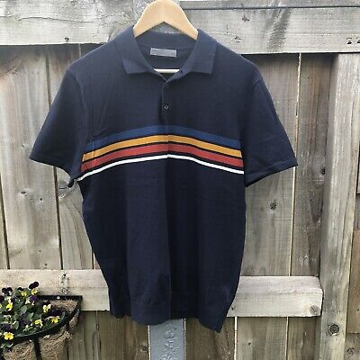 Marks And Spencer Polo Shirt Striped Cotton Retro Style Navy Red Yellow Large • 5£
