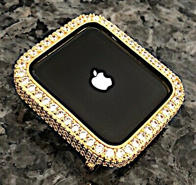 $ CDN80.16 • Buy 42 Mm Yellow Gold Lab Diamond Apple Watch Bezel Case Cover Metal Series 2/3