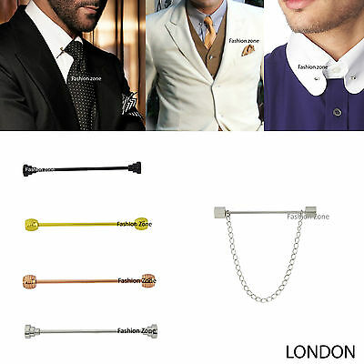 £4.99 • Buy NEW Mens  5.5cm Tie Pin Bar Collar Barbell Ball Silver Gold Black Suit Shirt