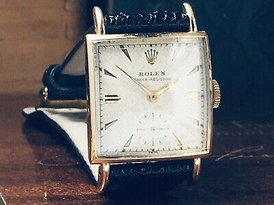 $ CDN5268.34 • Buy Vintage Rolex ♛ Art Deco Solid Gold 1958 Mens Tank Watch Texture Dial KEEPS TIME