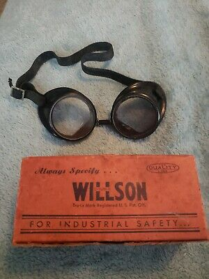 $49.99 • Buy Antique Willson Safety Goggles Glasses &  Box Type TAW10 Lens Super Tough Clear!