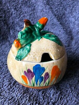 A Clarice Cliff Apple Shaped Preserve Pot. • 120£