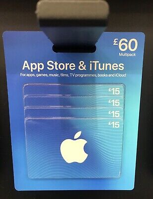 AU158.68 • Buy ITUNES £60 App Store & ITunes Gift Card - 4 X £15 Cards - 100% Genuine