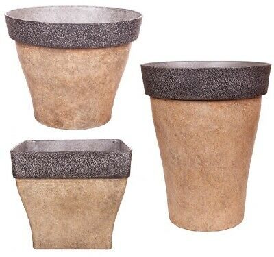 £20.99 • Buy Brown Large Plant Pot Round Square Tall Plastic Planter Outdoor Garden Tree