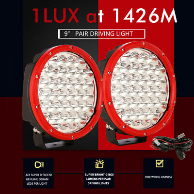 AU106.98 • Buy 9 Inch OSRAM LED Driving Lights Spot Lights Red Round Fog Headlight Bar Work 4WD