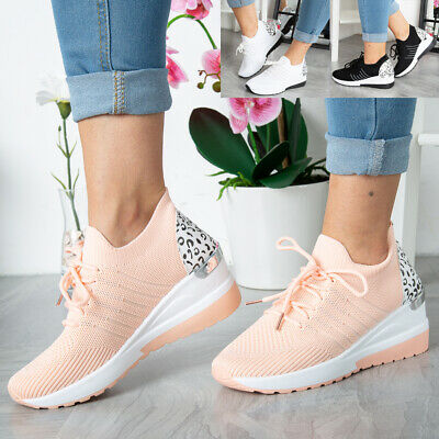 £13.94 • Buy Ladies Wedge Trainers Womens Sneakers Lace Up Comfy Classic Jogging Pumps Shoes