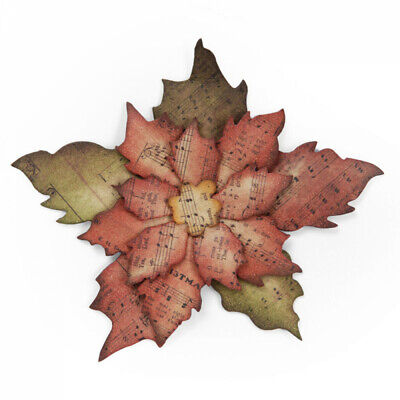 £15.99 • Buy Sizzix Tattered Poinsettia 658261 BIGZ Die By Tim Holtz ::  Leaf Autumn Leaves