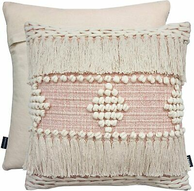 £13.99 • Buy Indian Tassel Cream Pink Mix Boho Pompoms Thick Cotton 17  Cushion Cover £13.99