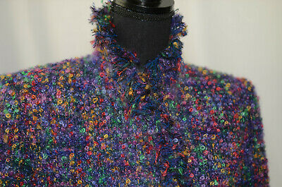 $ CDN116.97 • Buy Unbranded Size Small Multicolor High Neck Fringe Boucle Blazer SnapOn Fit Jacket