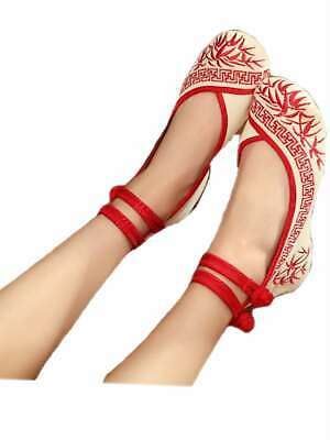 Ladies Women's Girls Chinese Embroidery Strap Canvas Loafers Causal Flat Shoes • 17.99£