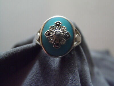 $26.96 • Buy Charles Winston~CW 925~Sterling Silver~Turquoise~Size 8 Marcasite Flower Ring