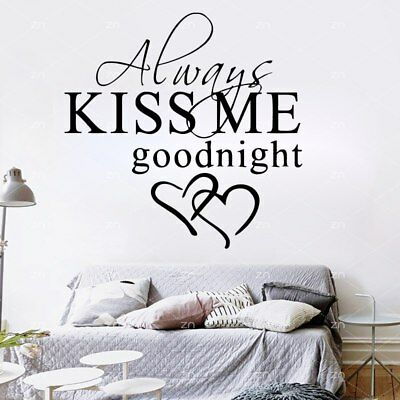 ALWAYS KISS ME GOODNIGHT LOVE Quote Wall Stickers Bedroom Removable Decals DIY • 2.59£
