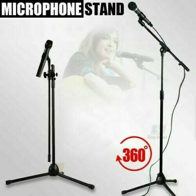 Microphone Stand With Tripod Base Adjustable Mic Suspension Stand Boom Arm Clips • 11.99£