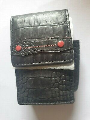 Cigarette Case Black Leather Croc Design Button Magnetic With Lighter Holder  • 12.95£
