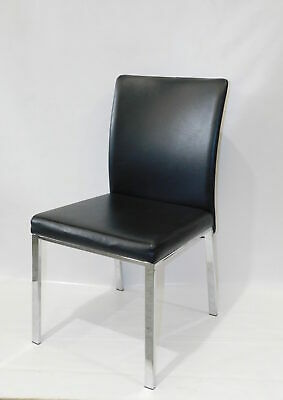 AU1000 • Buy DINING CHAIRS X 8 - By Insato Furniture, Black Leather, Chrome Frame, 6n