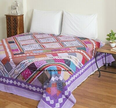 Indian Kantha Quilt King Size Bed Cover Applique Work Blanket Coverlet Bedspread • 69.99£