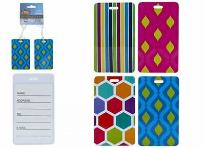 £2.99 • Buy 4Pc Luggage Tags HARD PLASTIC Travel/Holiday ID Name/Address Suitcase Label Tag