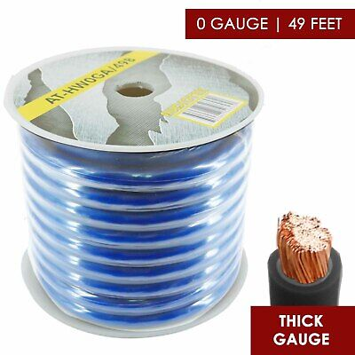 $51.99 • Buy 0 Gauge  Amplifier Power / Ground Wire 1/0 Ga Amp Cable, 49 Feet BLUE