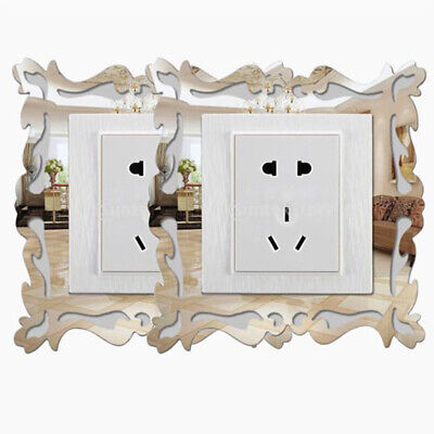 4pcs Silver Mirror Flower Light Switch Surround Wall Sticker Cover Frame Decor  • 4.29£