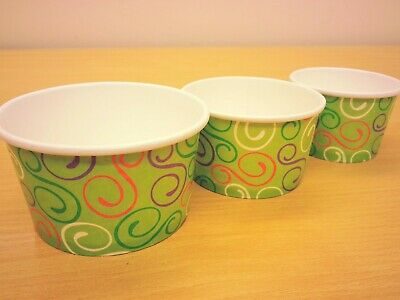 Paper Ice Cream Cups  Dessert Container Cups Tubs X 1000 Green Cup / SPOONS • 16.99£