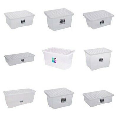 3 Pack Plastic Storage Boxes Clear Home Stacker Boxes With Lids • 17.99£