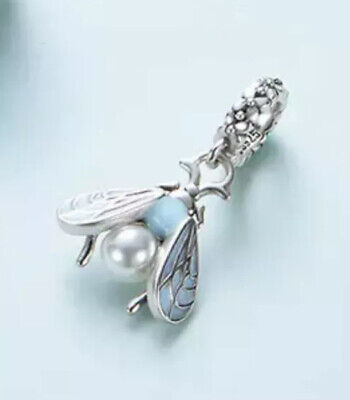 New Blue Moth With Pearl Pendant Charm Genuine 925 Sterling Silver For Bracelets • 14.99£