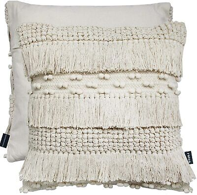 Bohemian Thick Wool Knitted Pom Pom Tassel Cream Zen 17  Cushion Cover £13.95 • 13.95£