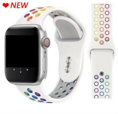 AU11.99 • Buy Rainbow Sport Silicone Strap For Apple Watch Series 5 4 3 2 1 44mm 40mm Band