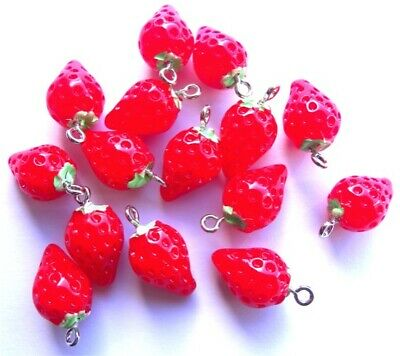 £5.99 • Buy 🍓🍓🍓10 Adorable Strawberry Charms Pendants - Absolutely Cute - 20mm🍓🍓🍓