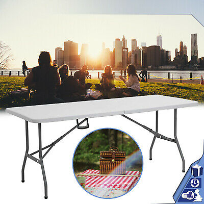 Heavy Duty Folding Table 6ft Portable Plastic Camping Trestle Picnic Exhibitions • 38.86£