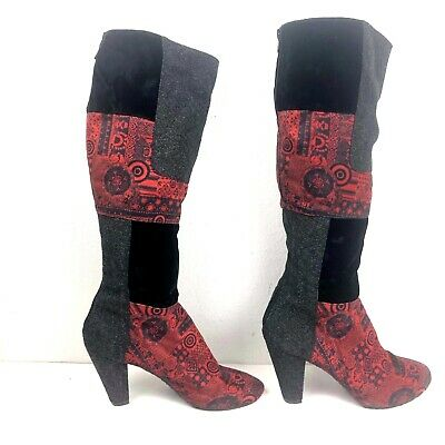 £35.40 • Buy Desigual Women's Black And Red Patchwork Shanon Boot Red Size 39 US 8