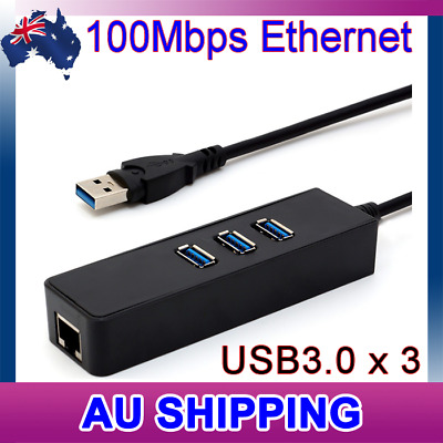 AU14.95 • Buy USB 3.0 HUB 3 Port With RJ45 Ethernet Adapter 100Mbps To PC MAC Laptop
