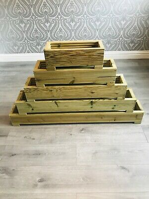Long Wooden Decking Planter/Window Box/Trough/Garden/Herb/Flower • 23.99£