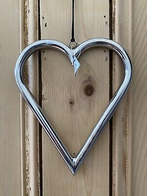 Silver Coloured Pipe Tube Hanging Heart Wedding Love Home Decoration Gift • 14.99£