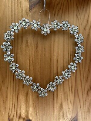 Silver Coloured Hanging Heart With Flowers & Crystals Wedding Love Shabby Chic • 8.50£
