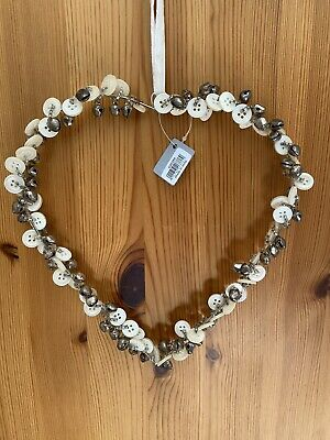 Silver Coloured Hanging Heart With Buttons & Bells Wedding Love Shabby Chic • 9.99£