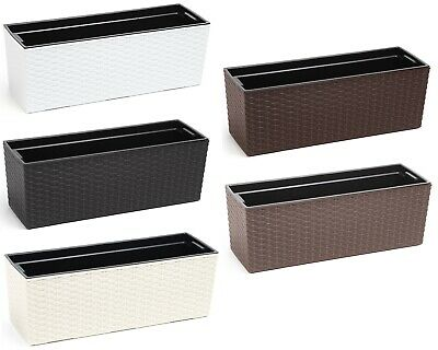 Rattan Trough Plant Pot Long Plastic Planter Home Garden Window Herb Flower Box • 18.99£