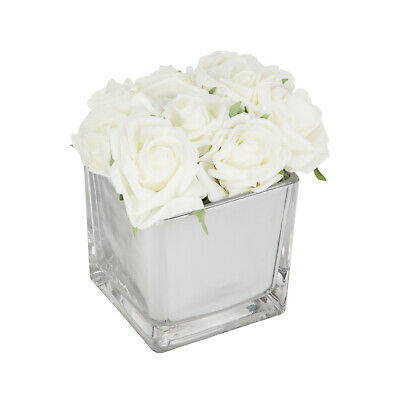Roses In Mirror Cube White Ornament Flower Artificial Flowers Wedding Home Decor • 27.99£