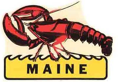 $3.99 • Buy Maine  Lobster    ME      Vintage 1950's Style   Travel Decal Sticker