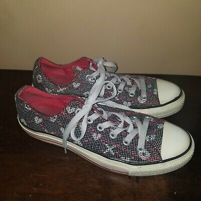 £21.62 • Buy Converse Womens Black/white Checked W/red Hearts & Skulls Low Top 505737f Sz 9
