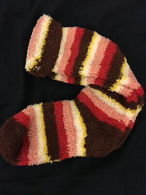 $9.99 • Buy Urban Outfitters Fuzzy Super Soft Fluffy Red Brown Pink Striped Long Knee Socks